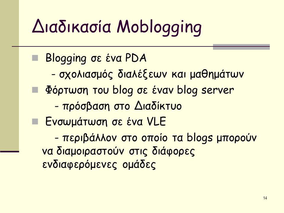 14 Διαδικασία Moblogging Blogging σε ένα PDA - σχολιασμός διαλέξεων και μαθημάτων Φόρτωση του blog σε έναν blog server - πρόσβαση στο Διαδίκτυο Ενσωμάτωση σε ένα VLE - περιβάλλον στο οποίο τα blogs μπορούν να διαμοιραστούν στις διάφορες ενδιαφερόμενες ομάδες