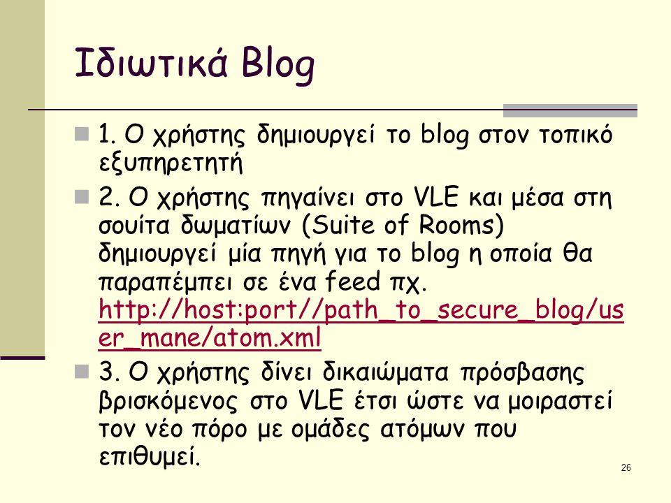 26 Ιδιωτικά Blog 1. Ο χρήστης δημιουργεί το blog στον τοπικό εξυπηρετητή 2.