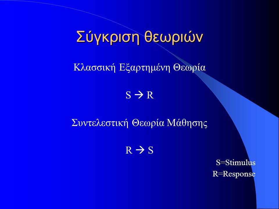 Σύγκριση θεωριών Κλασσική Εξαρτημένη Θεωρία S  R Συντελεστική Θεωρία Μάθησης R  S S=Stimulus R=Response