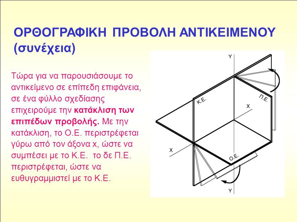 ΟΡΘΟΓΡΑΦΙΚΗ ΠΡΟΒΟΛΗ ΑΝΤΙΚΕΙΜΕΝΟΥ (συνέχεια) Τώρα για να παρουσιάσουμε το αντικείμενο σε επίπεδη επιφάνεια, σε ένα φύλλο σχεδίασης επιχειρούμε την κατά