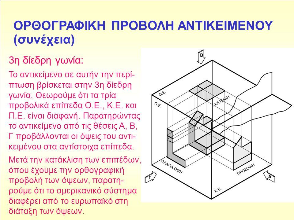 ΟΡΘΟΓΡΑΦΙΚΗ ΠΡΟΒΟΛΗ ΑΝΤΙΚΕΙΜΕΝΟΥ (συνέχεια) 3η δίεδρη γωνία: Το αντικείμενο σε αυτήν την περί- πτωση βρίσκεται στην 3η δίεδρη γωνία. Θεωρούμε ότι τα τ