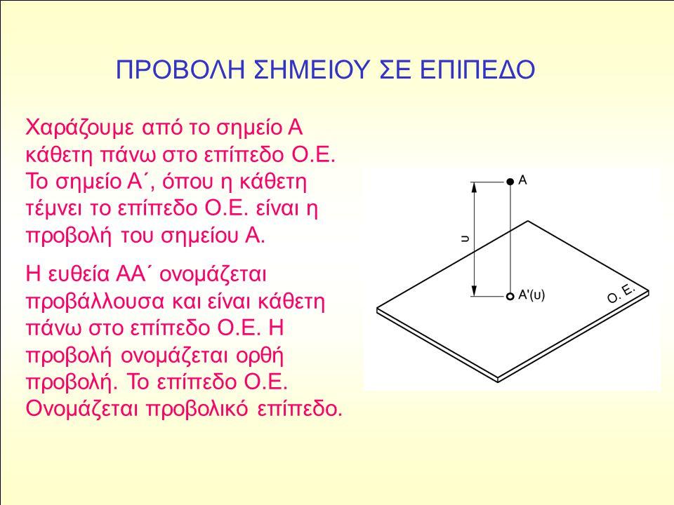 Χαράζουμε από το σημείο Α κάθετη πάνω στο επίπεδο Ο.Ε. Το σημείο Α΄, όπου η κάθετη τέμνει το επίπεδο Ο.Ε. είναι η προβολή του σημείου Α. Η ευθεία ΑΑ΄