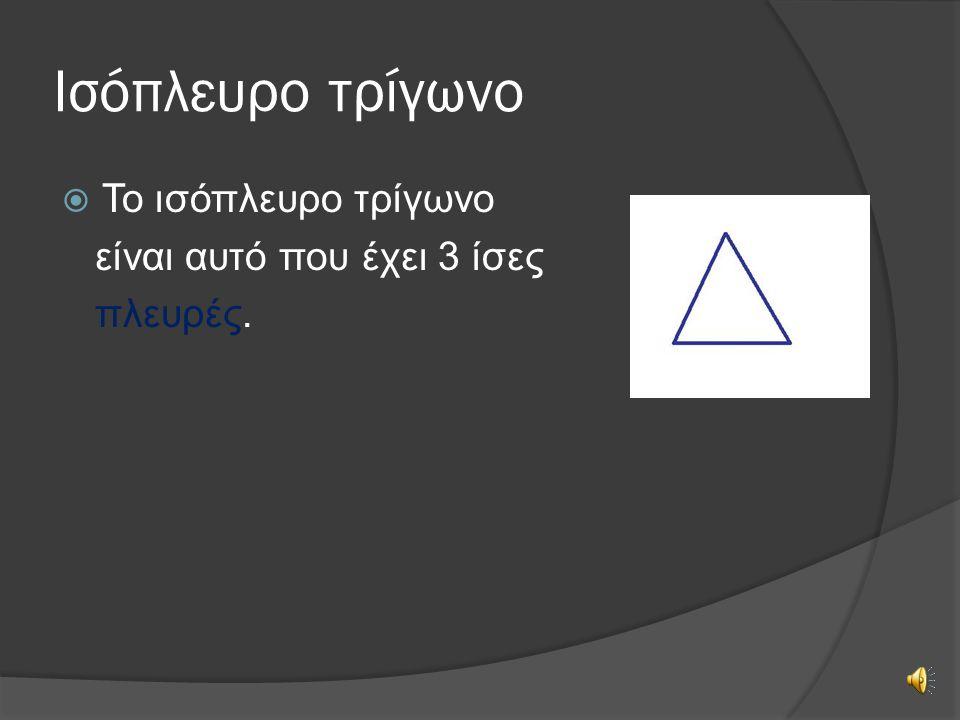 Είδη τριγώνων  Τα είδη τριγώνων είναι τα εξής : ισόπλευρο, ισοσκελές και σκαληνό.