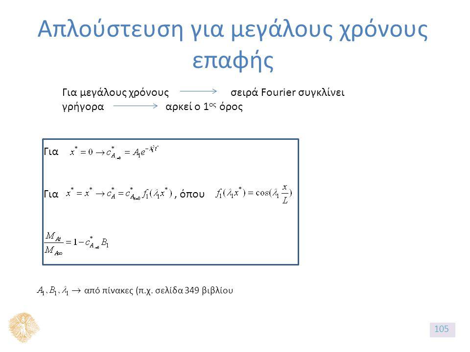 Απλούστευση για μεγάλους χρόνους επαφής Για μεγάλους χρόνους σειρά Fourier συγκλίνει γρήγορα αρκεί ο 1 ος όρος Για Για, όπου από πίνακες (π.χ.
