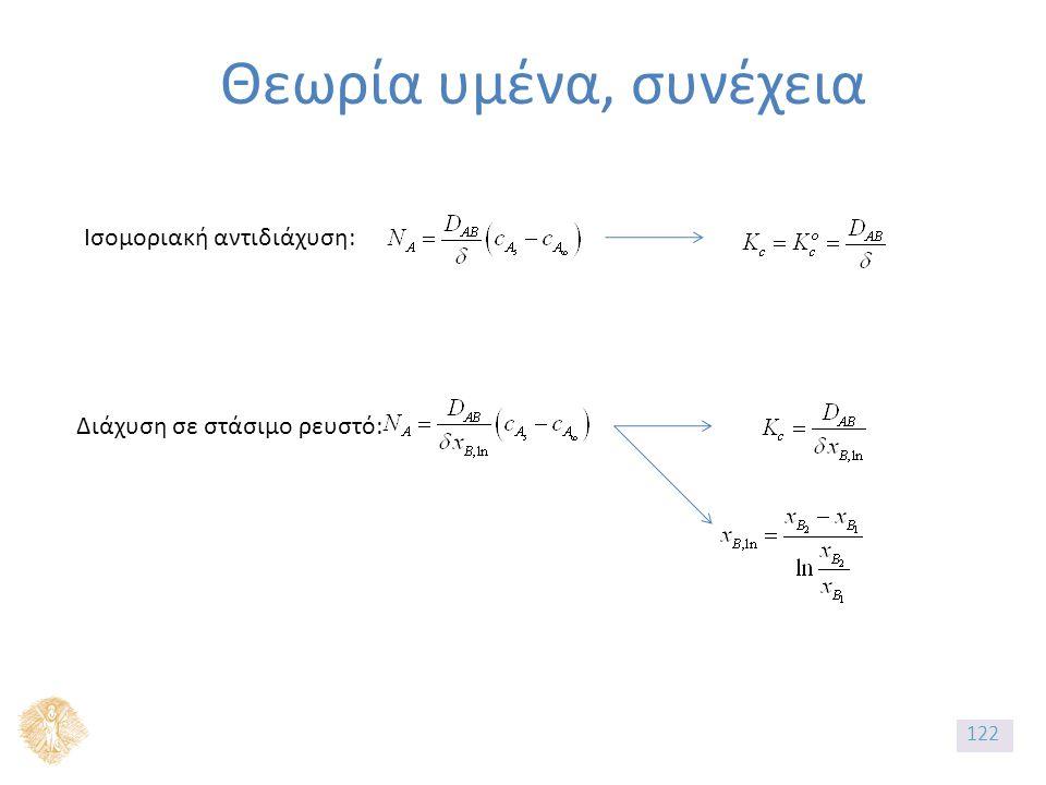 Θεωρία υμένα, συνέχεια Ισομοριακή αντιδιάχυση: Διάχυση σε στάσιμο ρευστό: 122