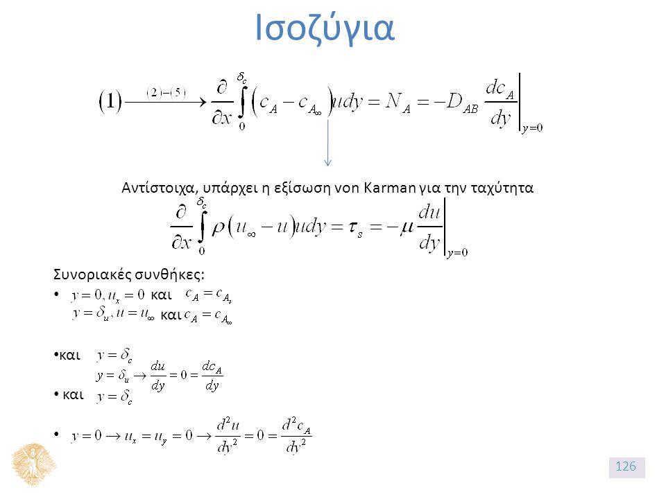 Ισοζύγια Αντίστοιχα, υπάρχει η εξίσωση von Karman για την ταχύτητα Συνοριακές συνθήκες: και και 126