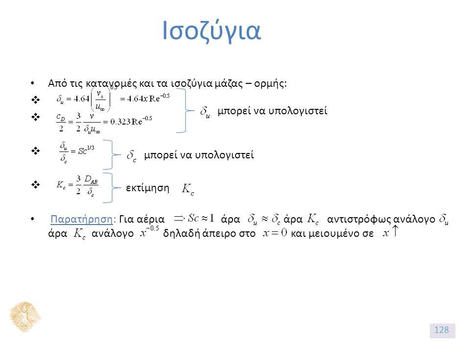 Ισοζύγια Από τις κατανομές και τα ισοζύγια μάζας – ορμής:  Παρατήρηση: Για αέρια άρα άρα αντιστρόφως ανάλογο άρα ανάλογο δηλαδή άπειρο στο και μειουμένο σε μπορεί να υπολογιστεί εκτίμηση 128