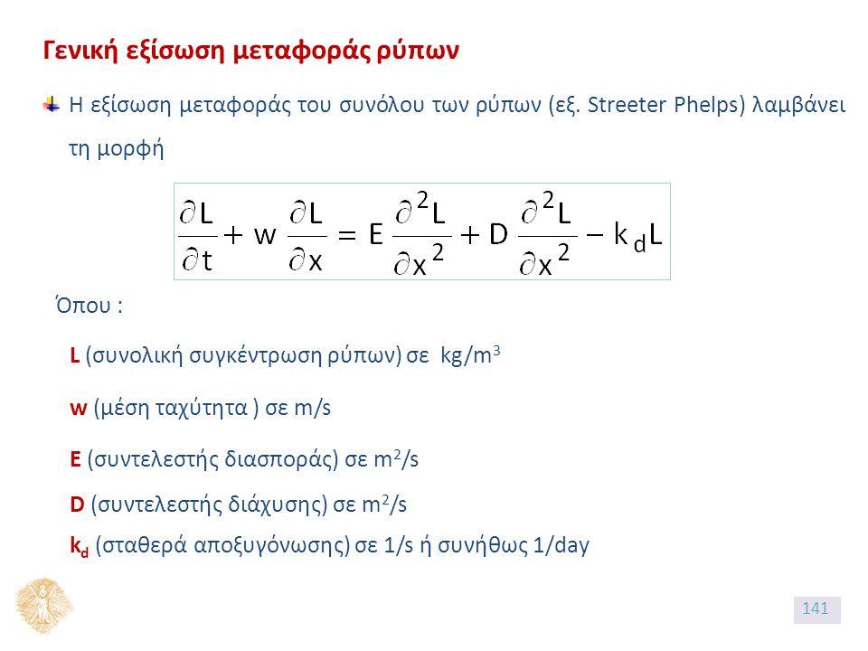 Γενική εξίσωση μεταφοράς ρύπων Η εξίσωση μεταφοράς του συνόλου των ρύπων (εξ.