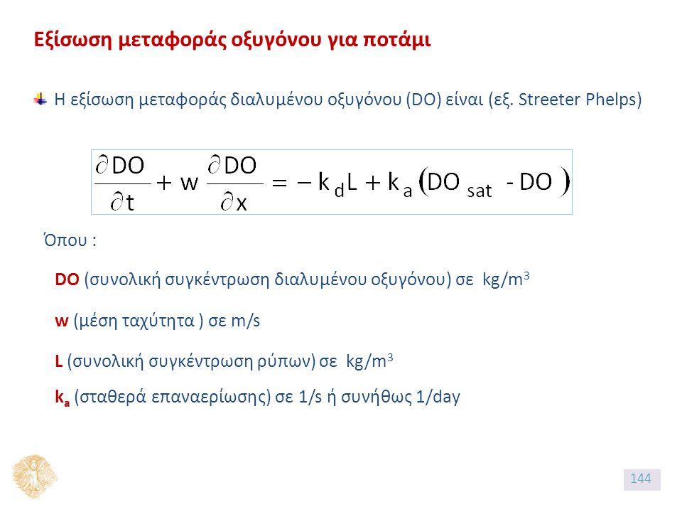 Εξίσωση μεταφοράς οξυγόνου για ποτάμι Η εξίσωση μεταφοράς διαλυμένου οξυγόνου (DO) είναι (εξ.