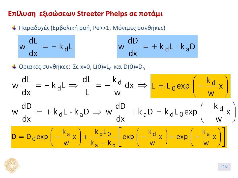 Επίλυση εξισώσεων Streeter Phelps σε ποτάμι Παραδοχές (Εμβολική ροή, Pe>>1, Μόνιμες συνθήκες) Οριακές συνθήκες: Σε x=0, L(0)=L 0 και D(0)=D 0 149