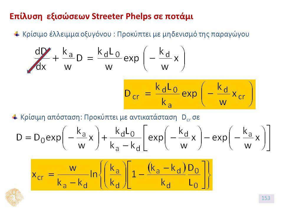 Επίλυση εξισώσεων Streeter Phelps σε ποτάμι Κρίσιμο έλλειμμα οξυγόνου : Προκύπτει με μηδενισμό της παραγώγου Κρίσιμη απόσταση: Προκύπτει με αντικατάσταση D cr σε 153