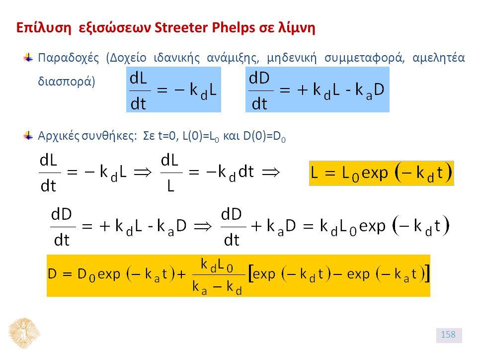 Επίλυση εξισώσεων Streeter Phelps σε λίμνη Παραδοχές (Δοχείο ιδανικής ανάμιξης, μηδενική συμμεταφορά, αμελητέα διασπορά) Aρχικές συνθήκες: Σε t=0, L(0)=L 0 και D(0)=D 0 158