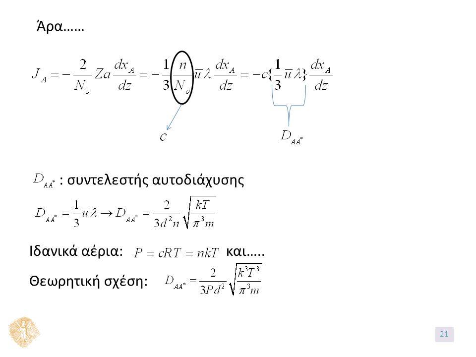 Άρα…… : συντελεστής αυτοδιάχυσης Ιδανικά αέρια: και….. Θεωρητική σχέση: 21