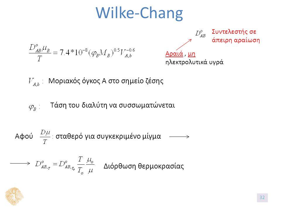 Wilke-Chang Αραιά, μη ηλεκτρολυτικά υγρά Συντελεστής σε άπειρη αραίωση Μοριακός όγκος Α στο σημείο ζέσης Τάση του διαλύτη να συσσωματώνεται Αφού σταθερό για συγκεκριμένο μίγμα Διόρθωση θερμοκρασίας 32