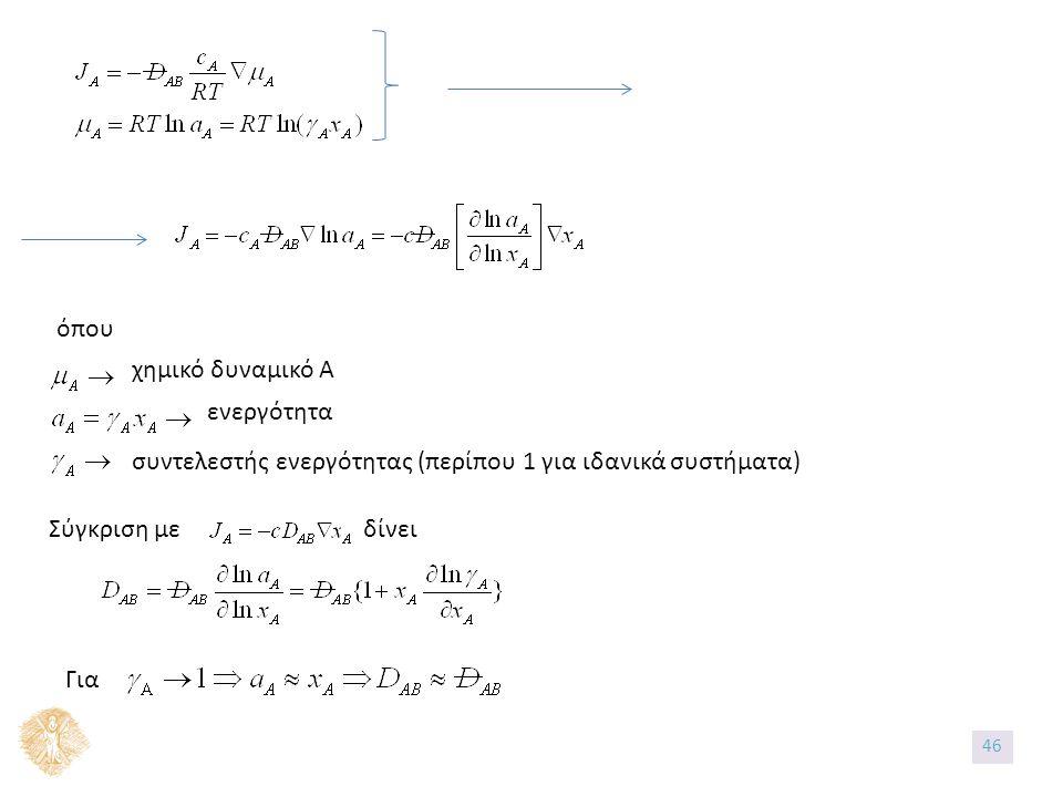 όπου χημικό δυναμικό Α ενεργότητα συντελεστής ενεργότητας (περίπου 1 για ιδανικά συστήματα) Σύγκριση με δίνει Για 46