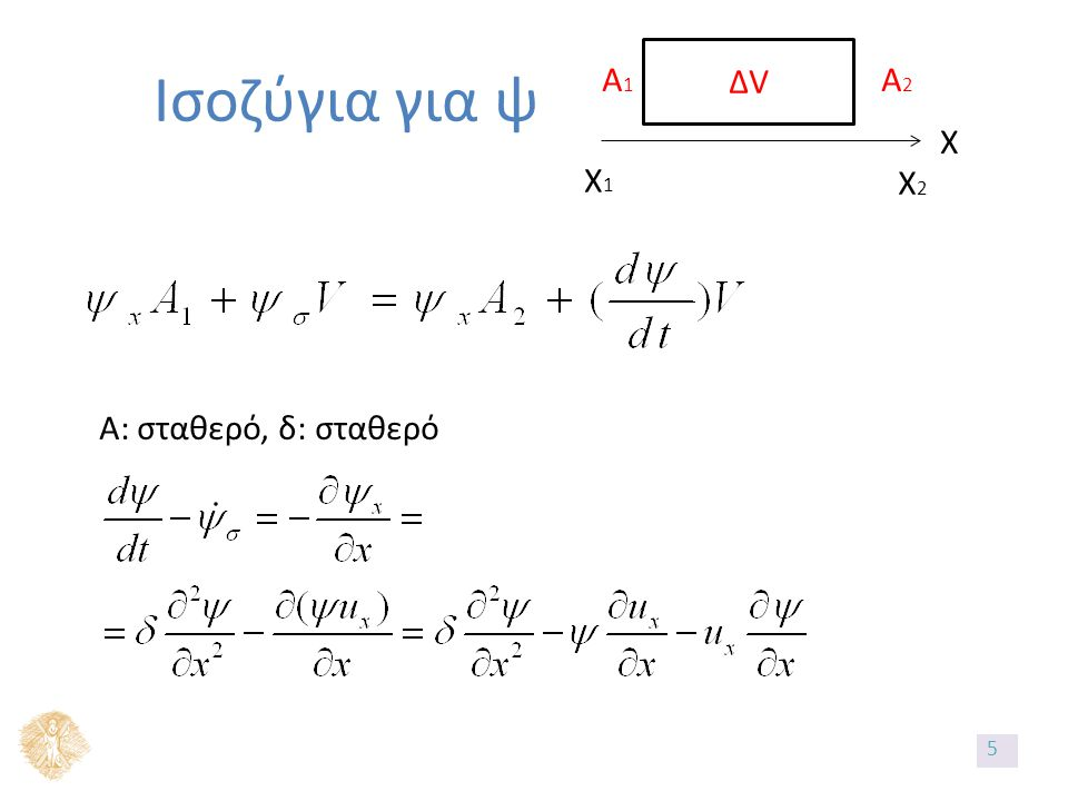 Ισοζύγια για ψ X X2X2 X1X1 ΔVΔV A1A1 A2A2 A: σταθερό, δ: σταθερό 5