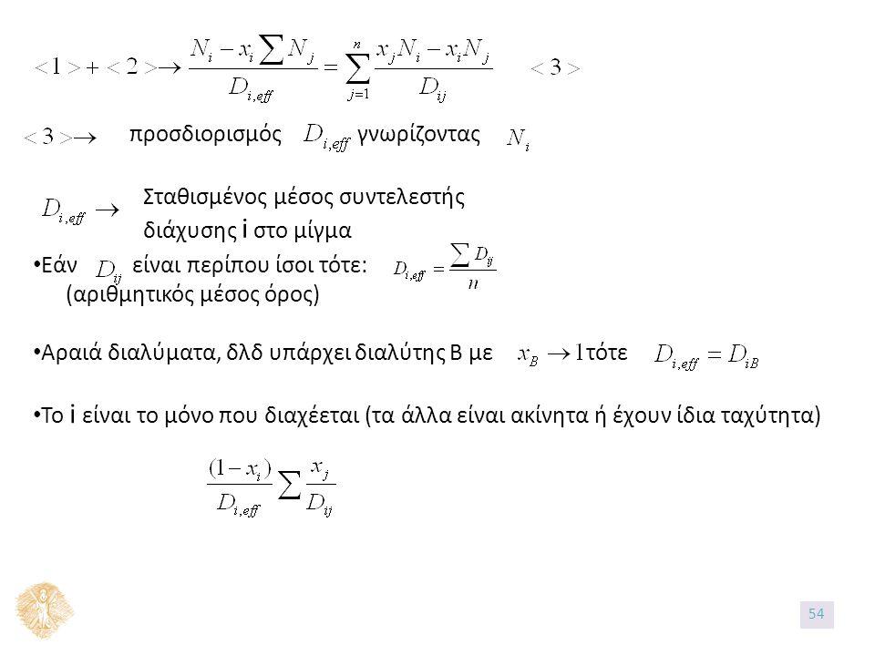 προσδιορισμός γνωρίζοντας Σταθισμένος μέσος συντελεστής διάχυσης i στο μίγμα Εάν είναι περίπου ίσοι τότε: (αριθμητικός μέσος όρος) Αραιά διαλύματα, δλδ υπάρχει διαλύτης Β με τότε Το i είναι το μόνο που διαχέεται (τα άλλα είναι ακίνητα ή έχουν ίδια ταχύτητα) 54
