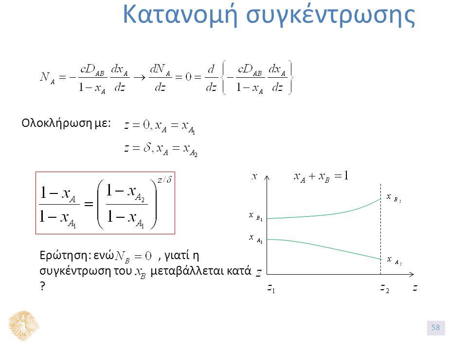 Κατανομή συγκέντρωσης Ολοκλήρωση με: Ερώτηση: ενώ, γιατί η συγκέντρωση του μεταβάλλεται κατά ? 58