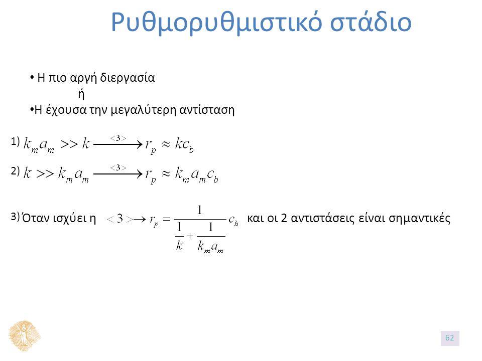 Ρυθμορυθμιστικό στάδιο Η πιο αργή διεργασία ή Η έχουσα την μεγαλύτερη αντίσταση Όταν ισχύει η και οι 2 αντιστάσεις είναι σημαντικές 1) 2) 3) 62