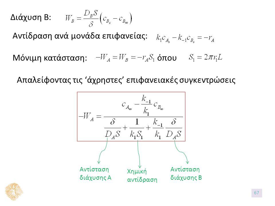 Διάχυση Β: Αντίδραση ανά μονάδα επιφανείας: Μόνιμη κατάσταση: όπου Απαλείφοντας τις 'άχρηστες' επιφανειακές συγκεντρώσεις Αντίσταση διάχυσης Α Χημική αντίδραση Αντίσταση διάχυσης Β 67