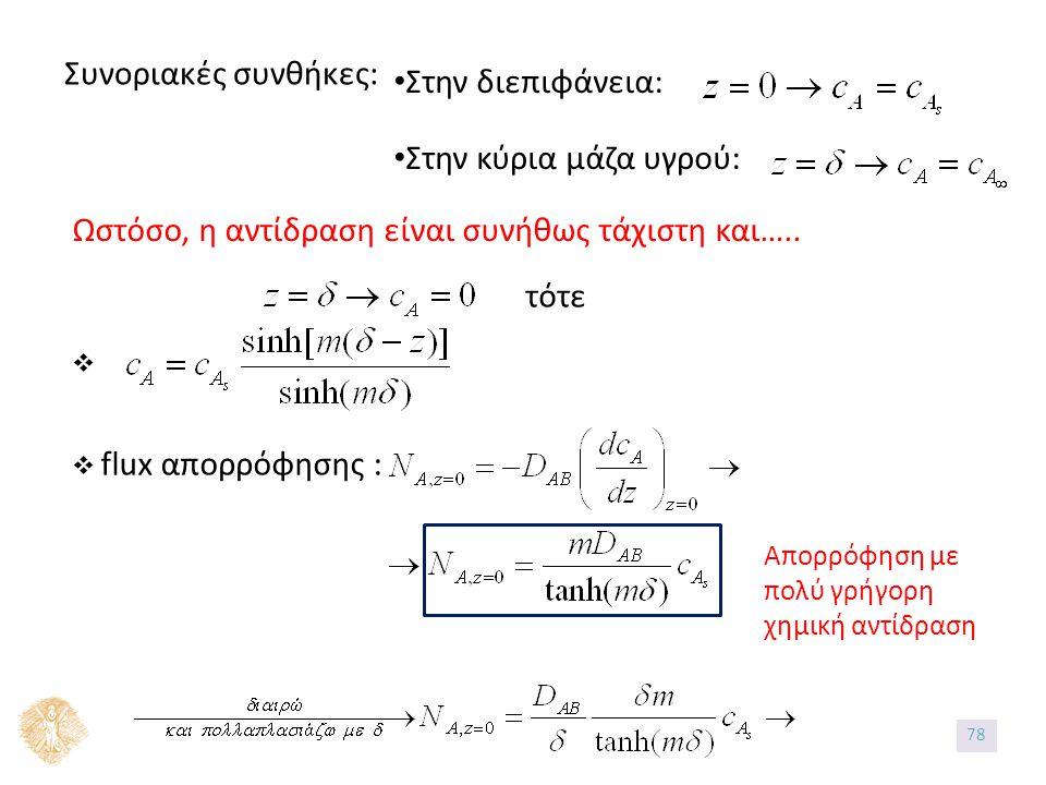 Συνοριακές συνθήκες: Στην διεπιφάνεια: Στην κύρια μάζα υγρού: Ωστόσο, η αντίδραση είναι συνήθως τάχιστη και…..