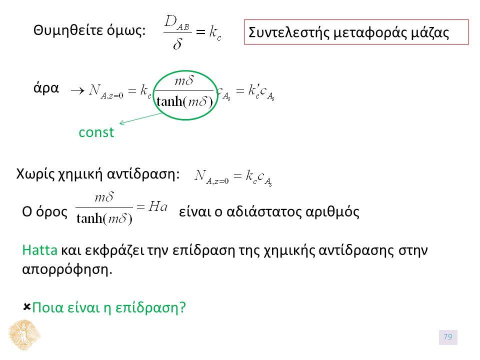 Θυμηθείτε όμως: άρα Συντελεστής μεταφοράς μάζας const Χωρίς χημική αντίδραση: Ο όρος είναι ο αδιάστατος αριθμός Hatta και εκφράζει την επίδραση της χημικής αντίδρασης στην απορρόφηση.
