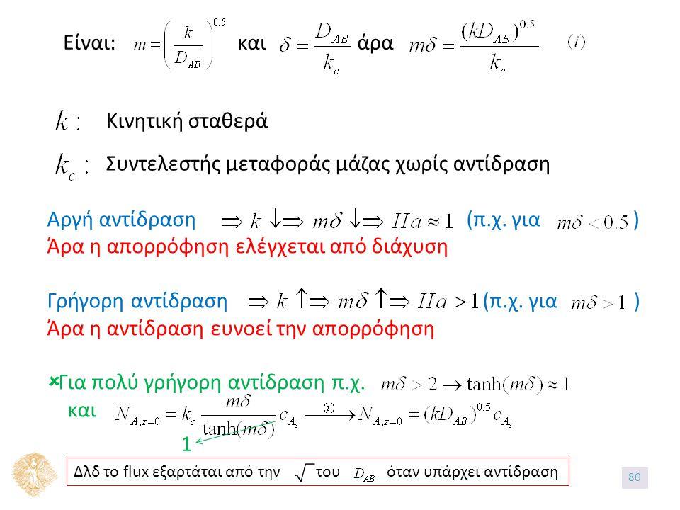 Είναι: και άρα Κινητική σταθερά Συντελεστής μεταφοράς μάζας χωρίς αντίδραση Αργή αντίδραση (π.χ.