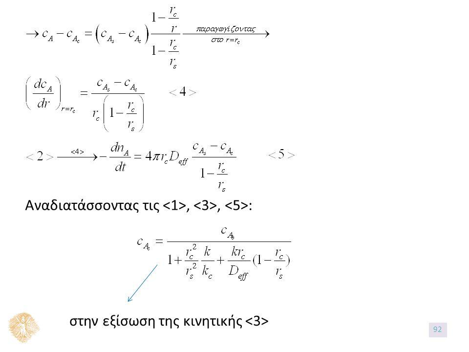 στην εξίσωση της κινητικής Αναδιατάσσοντας τις,, : 92