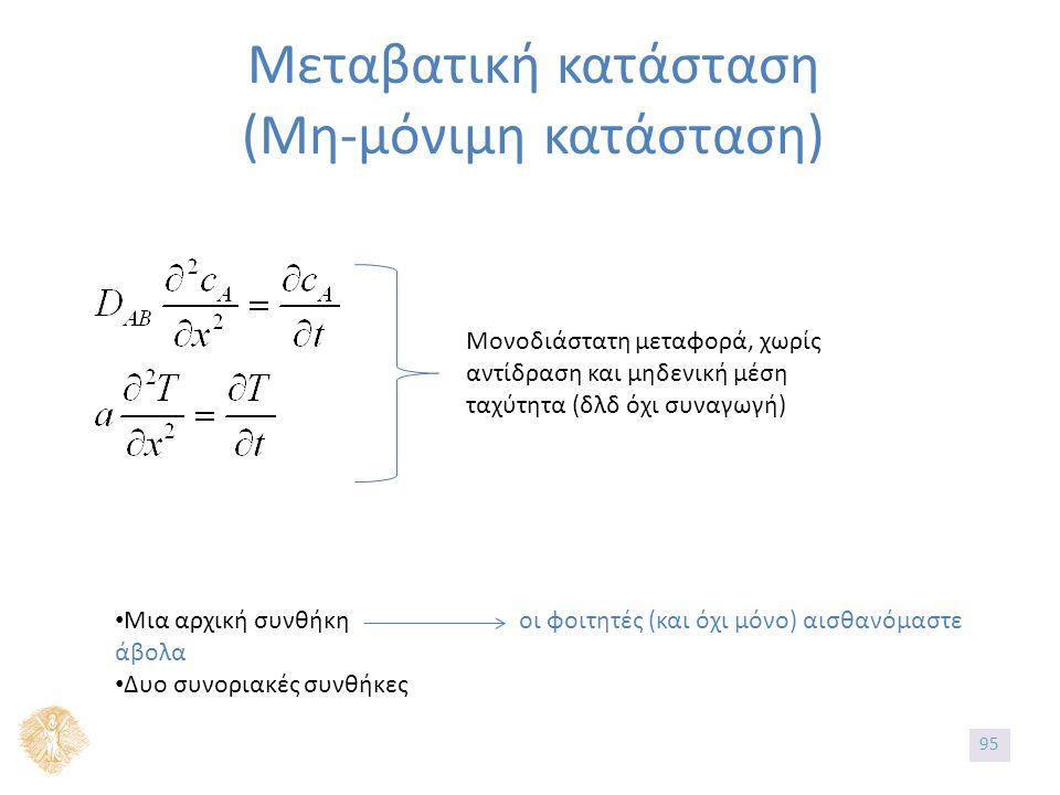 Μεταβατική κατάσταση (Μη-μόνιμη κατάσταση) Μια αρχική συνθήκη οι φοιτητές (και όχι μόνο) αισθανόμαστε άβολα Δυο συνοριακές συνθήκες Μονοδιάστατη μεταφορά, χωρίς αντίδραση και μηδενική μέση ταχύτητα (δλδ όχι συναγωγή) 95