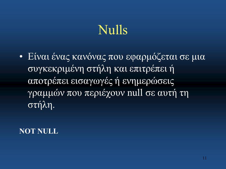 11 Nulls Eίναι ένας κανόνας που εφαρμόζεται σε μια συγκεκριμένη στήλη και επιτρέπει ή αποτρέπει εισαγωγές ή ενημερώσεις γραμμών που περιέχουν null σε