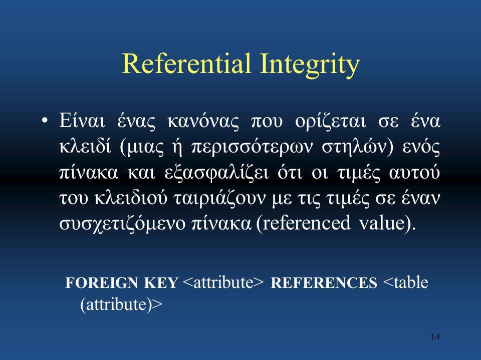 14 Referential Integrity Είναι ένας κανόνας που ορίζεται σε ένα κλειδί (μιας ή περισσότερων στηλών) ενός πίνακα και εξασφαλίζει ότι οι τιμές αυτού του