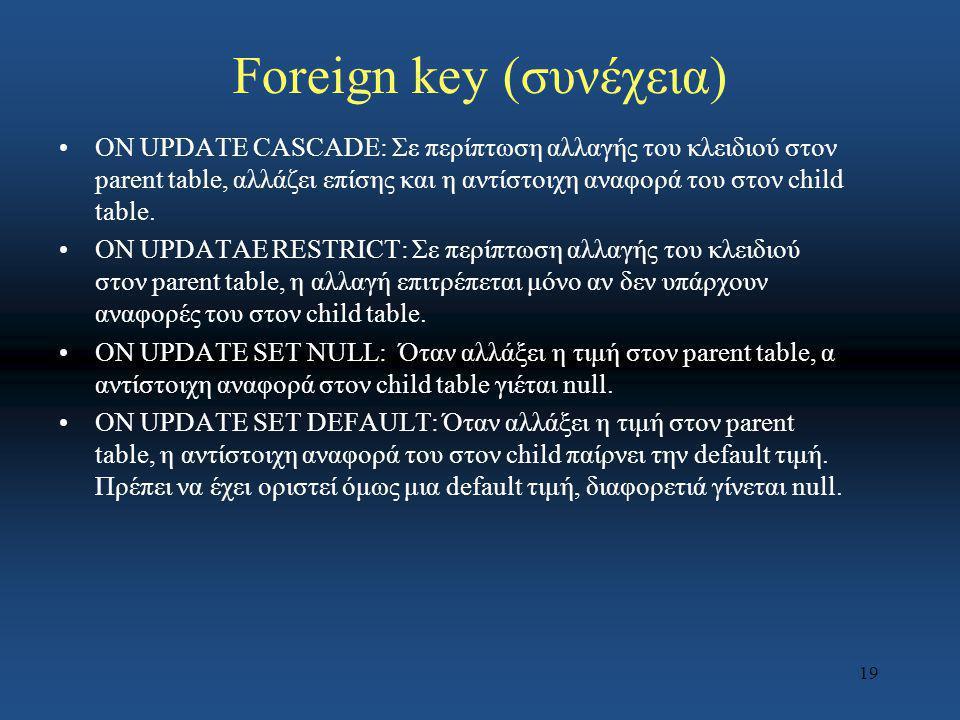 19 Foreign key (συνέχεια) ON UPDATE CASCADE: Σε περίπτωση αλλαγής του κλειδιού στον parent table, αλλάζει επίσης και η αντίστοιχη αναφορά του στον chi
