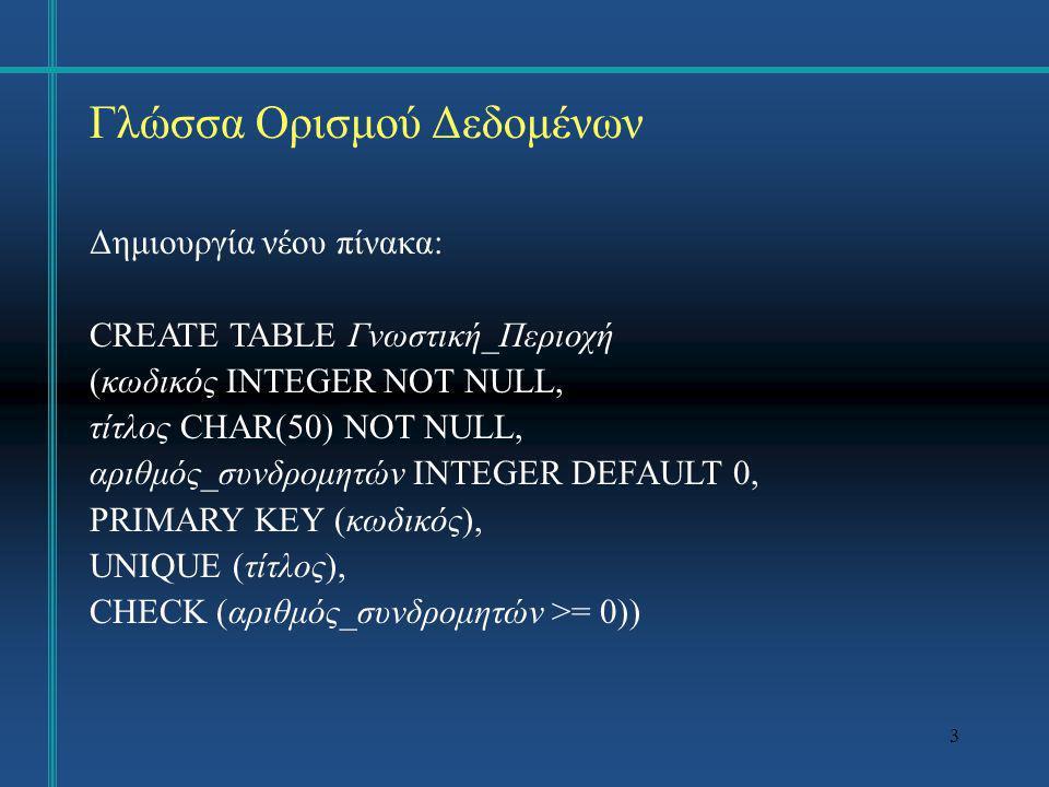 4 Γλώσσα Ορισμού Δεδομένων Δημιουργία νέου πίνακα: CREATE TABLE Πρακτικά_Συνεδρίου (κωδικός INTEGER NOT NULL, συνέδριο VARCHAR(100) NOT NULL, ημερομηνία DATE NOT NULL, χώρα CHAR(20), κωδικός_εκδοτικού_οίκου INTEGER NOT NULL, PRIMARY KEY (κωδικός), FOREIGN KEY (κωδικός_εκδοτικού_οίκου) REFERENCES Εκδοτικός_Οίκος (κωδικός) ON DELETE CASCADE ON UPDATE CASCADE )
