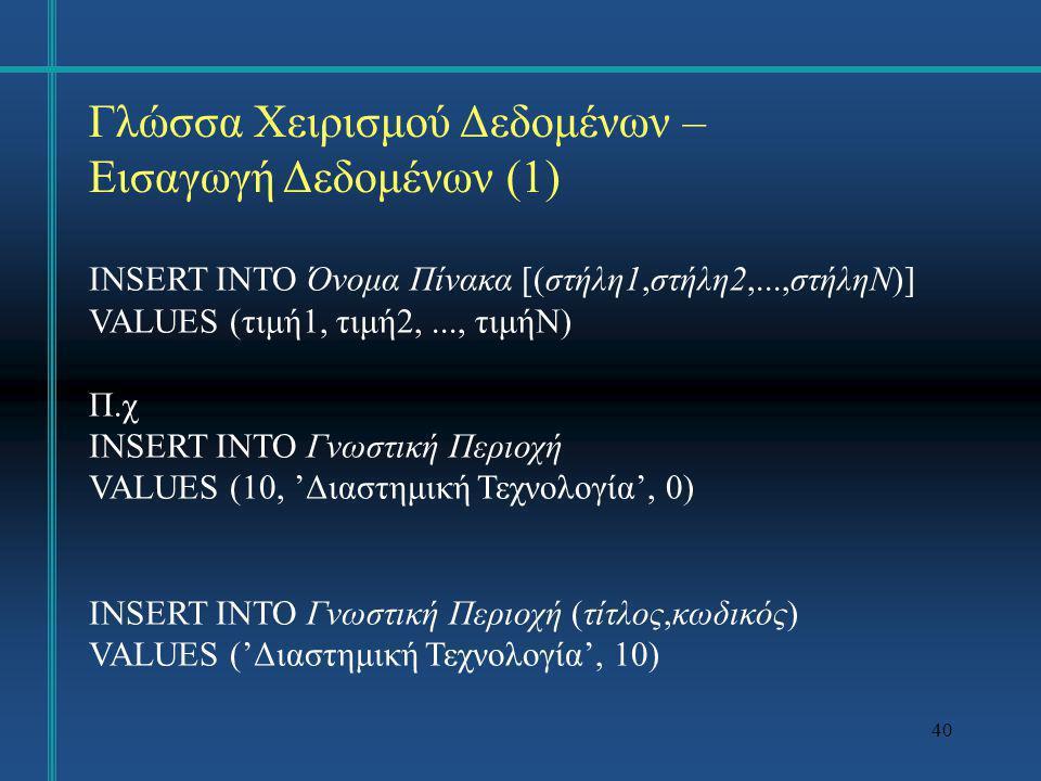 40 Γλώσσα Χειρισμού Δεδομένων – Εισαγωγή Δεδομένων (1) INSERT INTO Όνομα Πίνακα [(στήλη1,στήλη2,...,στήληΝ)] VALUES (τιμή1, τιμή2,..., τιμήN) Π.χ INSE