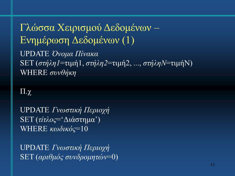 41 Γλώσσα Χειρισμού Δεδομένων – Ενημέρωση Δεδομένων (1) UPDATE Όνομα Πίνακα SET (στήλη1=τιμή1, στήλη2=τιμή2,..., στήληN=τιμήN) WHERE συνθήκη Π.χ UPDAT