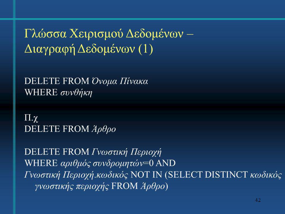 42 Γλώσσα Χειρισμού Δεδομένων – Διαγραφή Δεδομένων (1) DELETE FROM Όνομα Πίνακα WHERE συνθήκη Π.χ DELETE FROM Άρθρο DELETE FROM Γνωστική Περιοχή WHERE