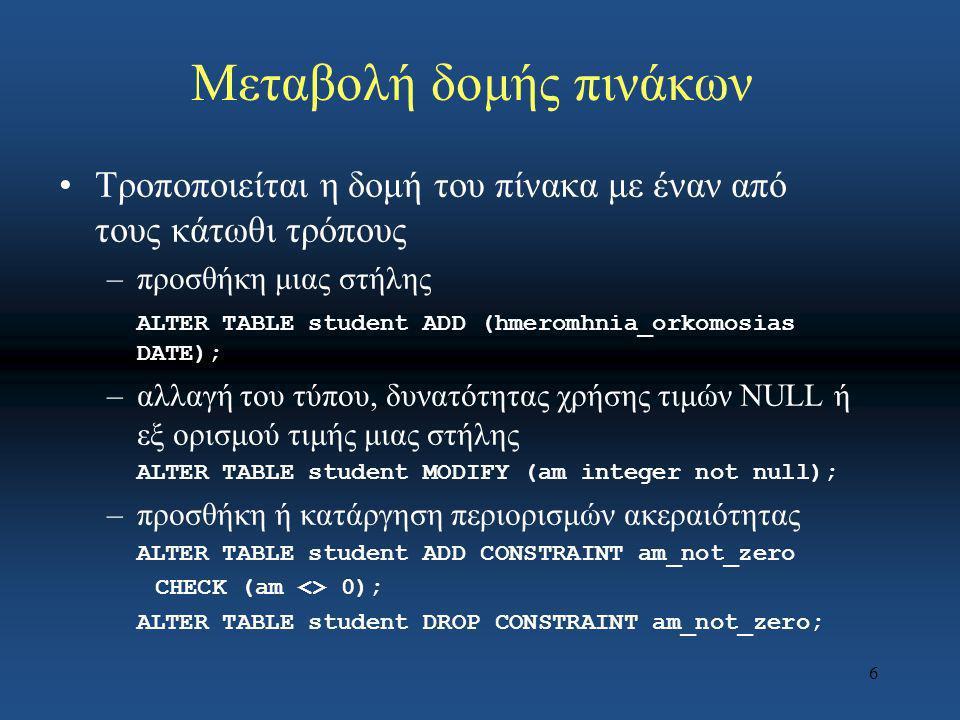 7 Γλώσσα Ορισμού Δεδομένων Αλλαγή δομής πίνακα: Κατασκευή νέας στήλης ALTER TABLE Συνδρομητής ADD COLUMN ημερ/νία-γέννησης DATE NOT NULL Για την κατάργηση της στήλης ημερ/νία-γέννησης έχουμε: ALTER TABLE Συνδρομητής DROP COLUMN ημερ/νία-γέννησης