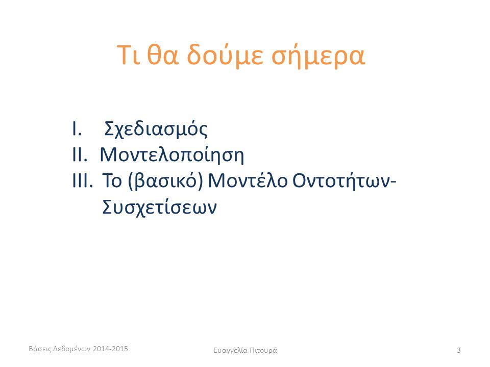 Ευαγγελία Πιτουρά44 Οι τύποι συσχετίσεων μπορεί να έχουν και γνωρίσματα Παράδειγμα (ώρες απασχόλησης, ημερομηνία έναρξης) Πότε είναι αυτό καλή επιλογή αντί της δημιουργίας νέου τύπου οντοτήτων; Μπορεί να μεταφερθούν σε κάποια από τις οντότητες; (1:1, 1:Ν, Μ:Ν) (ταινία, ηθοποιός, ρόλος) (Φοιτητής, Τμήμα, Έτος Εγγραφής) (Φοιτητής, Μάθημα, Βαθμός) Γνωρίσματα Συσχετίσεων Βάσεις Δεδομένων 2014-2015