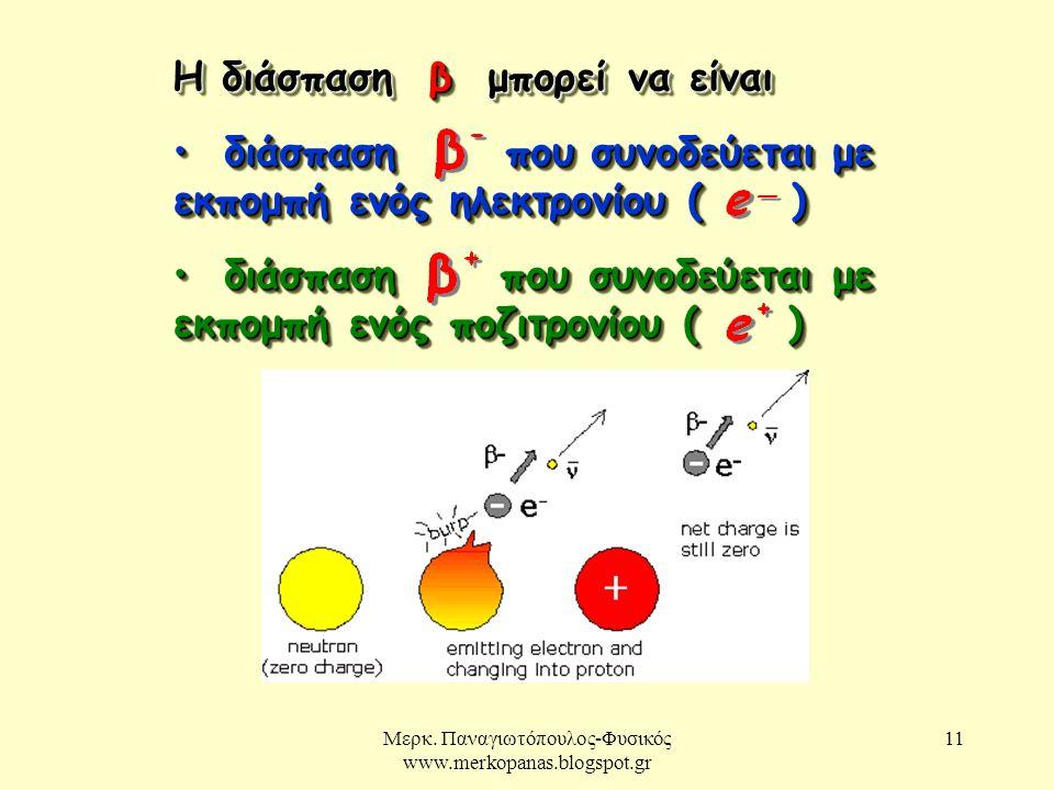 Μερκ. Παναγιωτόπουλος-Φυσικός www.merkopanas.blogspot.gr 11 Η διάσπαση β μπορεί να είναι διάσπαση που συνοδεύεται με εκπομπή ενός ηλεκτρονίου ( ) διάσ