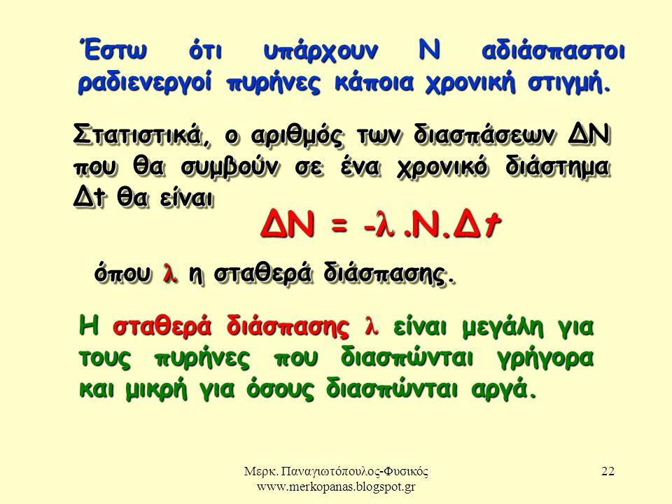 Μερκ. Παναγιωτόπουλος-Φυσικός www.merkopanas.blogspot.gr 22 Έστω ότι υπάρχουν Ν αδιάσπαστοι ραδιενεργοί πυρήνες κάποια χρονική στιγμή. Στατιστικά, ο α