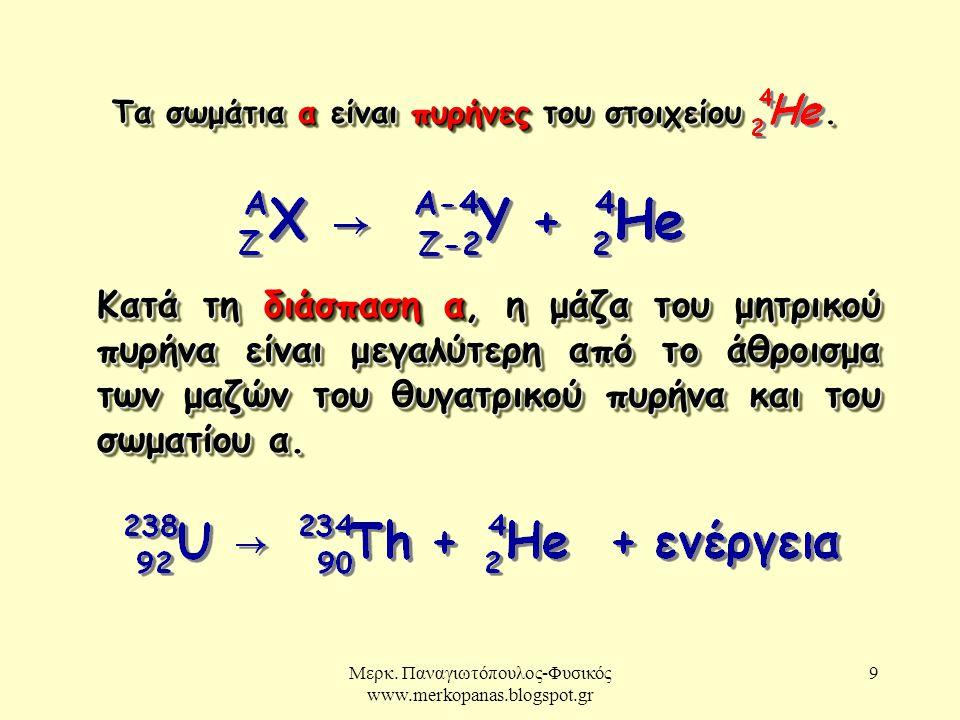 Μερκ. Παναγιωτόπουλος-Φυσικός www.merkopanas.blogspot.gr 9 Κατά τη διάσπαση α, η μάζα του μητρικού πυρήνα είναι μεγαλύτερη από το άθροισμα των μαζών τ