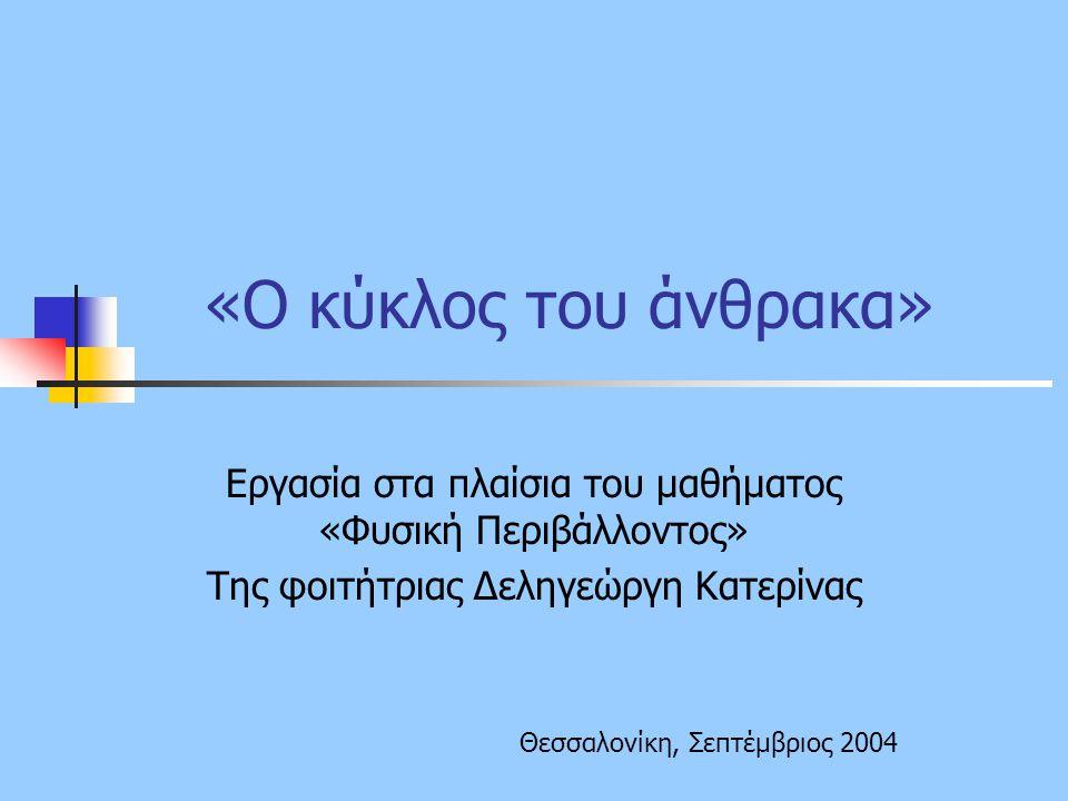 «O κύκλος του άνθρακα» Εργασία στα πλαίσια του μαθήματος «Φυσική Περιβάλλοντος» Της φοιτήτριας Δεληγεώργη Κατερίνας Θεσσαλονίκη, Σεπτέμβριος 2004