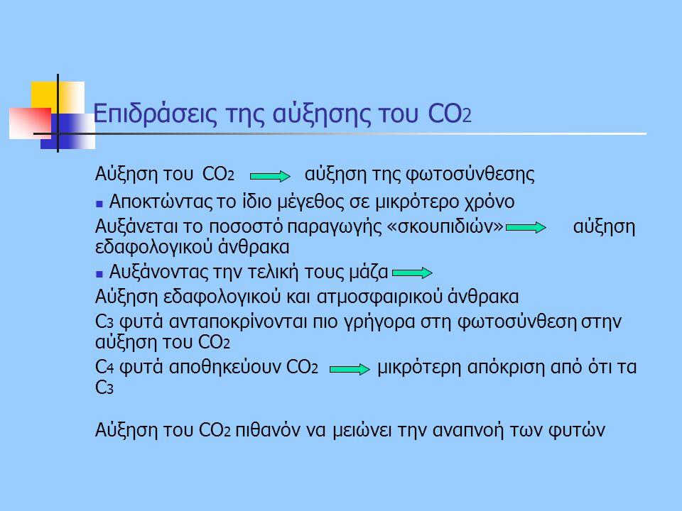 Επιδράσεις της αύξησης του CO 2 Αύξηση του CO 2 αύξηση της φωτοσύνθεσης Αποκτώντας το ίδιο μέγεθος σε μικρότερο χρόνο Αυξάνεται το ποσοστό παραγωγής «