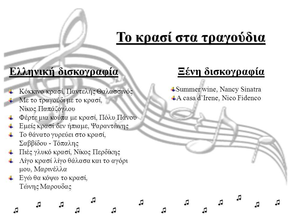 Το κρασί στα τραγούδια Ελληνική δισκογραφίαΞένη δισκογραφία Summer wine, Nancy Sinatra A casa d'Irene, Nico Fidenco Κόκκινο κρασί, Παντελής Θαλασσινός Με το τραγούδι με το κρασί, Νίκος Παπάζογλου Φέρτε μια κούπα με κρασί, Πόλυ Πάνου Εμείς κρασί δεν ήπιαμε, Ψαραντώνης Το θάνατο γυρεύει στο κρασί, Σαββίδου - Τόπαλης Πιές γλυκό κρασί, Νίκος Περδίκης Λίγο κρασί λίγο θάλασα και το αγόρι μου, Μαρινέλλα Εγώ θα κόψω το κρασί, Τώνης Μαρουδας ♫ ♫ ♫ ♫ ♫ ♫ ♫♫ ♫ ♫ ♫♫ ♫ ♫