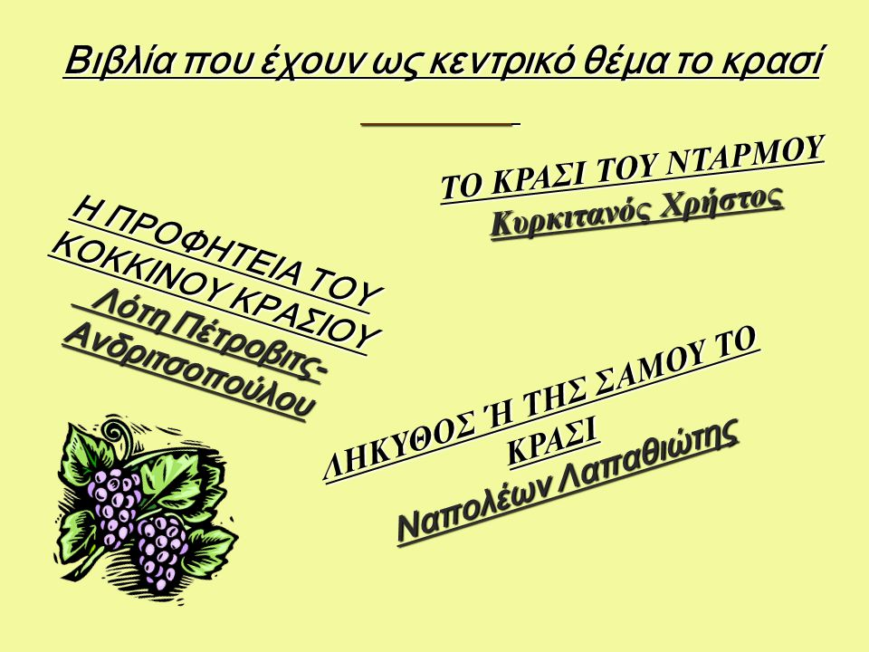 Βιβλία που έχουν ως κεντρικό θέμα το κρασί ΛΗΚΥΘΟΣ Ή ΤΗΣ ΣΑΜΟΥ ΤΟ ΚΡΑΣΙ Ναπολέων Λαπαθιώτης ΤΟ ΚΡΑΣΙ ΤΟΥ ΝΤΑΡΜΟΥ Κυρκιτανός Χρήστος Η ΠΡΟΦΗΤΕΙΑ ΤΟΥ ΚΟΚΚΙΝΟΥ ΚΡΑΣΙΟΥ Λότη Πέτροβιτς- Ανδριτσοπούλου Λότη Πέτροβιτς- Ανδριτσοπούλου