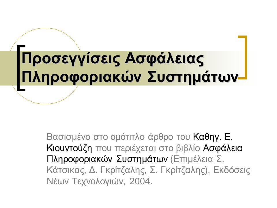 Προσεγγίσεις Ασφάλειας Πληροφοριακών Συστημάτων Βασισμένο στο ομότιτλο άρθρο του Καθηγ.