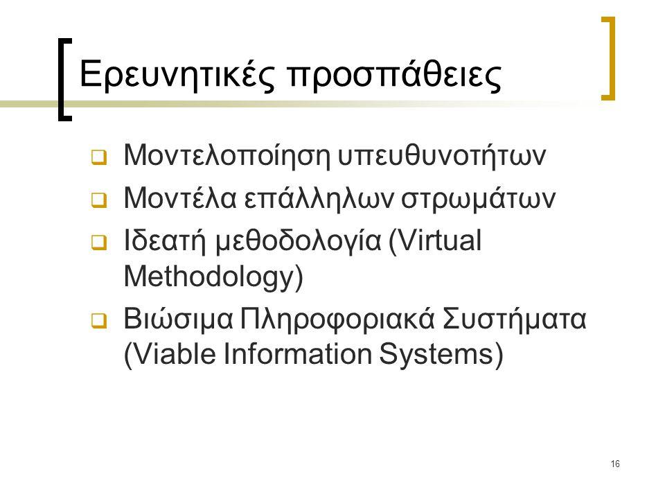 16 Ερευνητικές προσπάθειες  Μοντελοποίηση υπευθυνοτήτων  Μοντέλα επάλληλων στρωμάτων  Ιδεατή μεθοδολογία (Virtual Methodology)  Βιώσιμα Πληροφοριακά Συστήματα (Viable Information Systems)