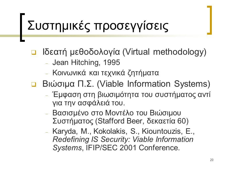 20 Συστημικές προσεγγίσεις  Ιδεατή μεθοδολογία (Virtual methodology)  Jean Hitching, 1995  Κοινωνικά και τεχνικά ζητήματα  Βιώσιμα Π.Σ.