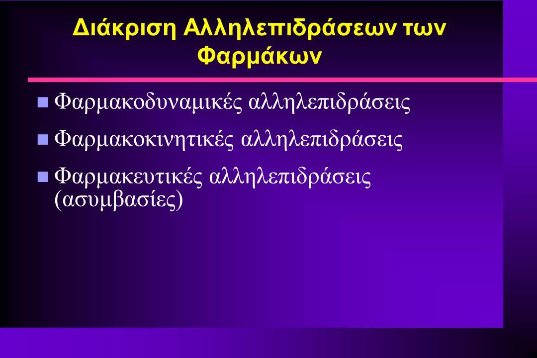 Διάκριση Αλληλεπιδράσεων των Φαρμάκων n Φαρμακοδυναμικές αλληλεπιδράσεις n Φαρμακοκινητικές αλληλεπιδράσεις n Φαρμακευτικές αλληλεπιδράσεις (ασυμβασίε