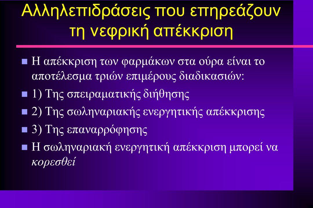 Αλληλεπιδράσεις που επηρεάζουν τη νεφρική απέκκριση n Η απέκκριση των φαρμάκων στα ούρα είναι το αποτέλεσμα τριών επιμέρους διαδικασιών: n 1) Της σπει